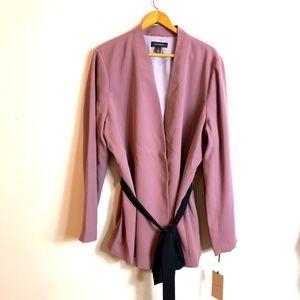 Halogen: Purple Taupe Open Front Tie Waist Jacket